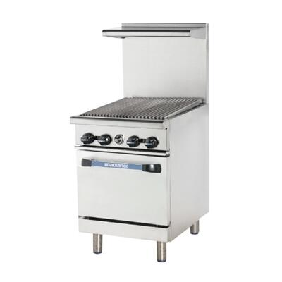 "Turbo Air TAR24R 24"" Range with Heavy Gauge Welded Frame, 24"" Radiant Broiler, Stainless Steel Construction, 1 Standard Oven, Full Size Crumb Tray and Adjustable Oven Thermostat:"