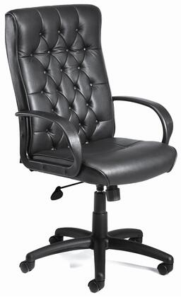 "Boss B850 43"" Executive Chair with Button Tufted Back Cushions, Upright Locking Position, Gas Lift Seat Height Adjustment, and Adjustable Tilt Tension Control in Black LeatherPlus Upholstery"