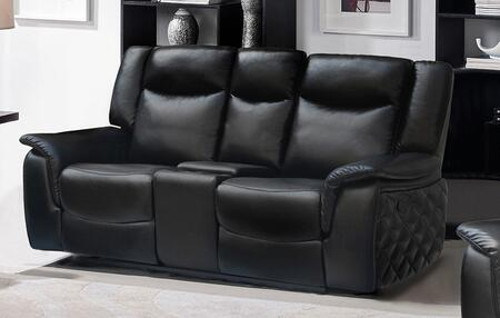 "Meridian Carly 628-L 62"" Glider Reclining Loveseat with Top Quality Leather Upholstery, Unique Quilt Design on Sides and Removable Backs in"