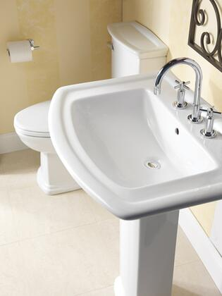 """Barclay 3-39WH Washington 550 Pedestal Lavatory, with Pre-drilled Faucet Hole, 6"""" Basin Depth, and Vitreous China Construction, in White"""