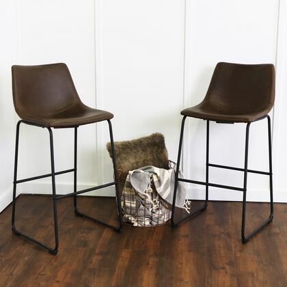 Walker Edison Faux Leather Dining Kitchen Barstools Set of 2 with Synthetic Leather Upholstery