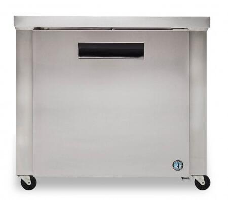 """Hoshizaki CRMR36xx 36"""" Commercial Undercounter Refrigerator with 9.9 cu. ft. Capacity, Stainless Steel Exterior, 1 Epoxy Coated Shelf, Stepped Door Design, and Field Reversible Door, in Stainless Steel"""