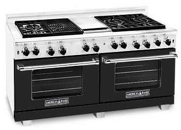 "American Range ARR6062GRBK 60"" Heritage Classic Series Gas Freestanding Range with Sealed Burner Cooktop, 4.8 cu. ft. Primary Oven Capacity, in Black"