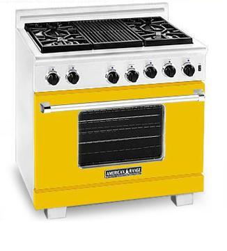 American Range ARR366YW Heritage Classic Series Natural Gas Freestanding Range with Sealed Burner Cooktop, 5.6 cu. ft. Primary Oven Capacity, in Yellow