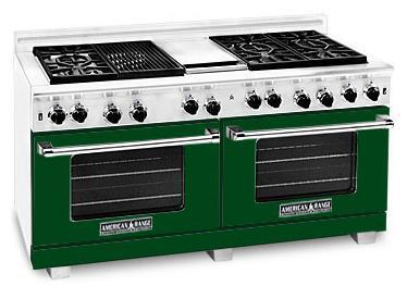 American Range ARR6062GDFG Heritage Classic Series Natural Gas Freestanding Range with Sealed Burner Cooktop, 4.8 cu. ft. Primary Oven Capacity, in Green