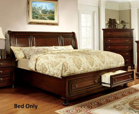 Furniture of America Northville CM768X Bed with Transitional Style, Platform Bed, Curved Headboard in Dark Cherry