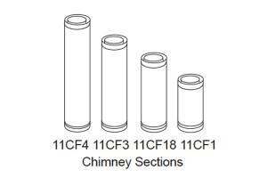 """Majestic 11CF Long Chimney Section For CF Series Two-Wall 11"""" Diameter Flue Pipe"""