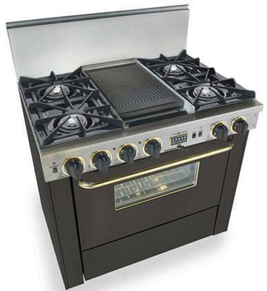 "FiveStar TPN3257SW 36"" Dual Fuel Freestanding Range with Open Burner Cooktop, 3.69 cu. ft. Primary Oven Capacity, in Black with Brass"