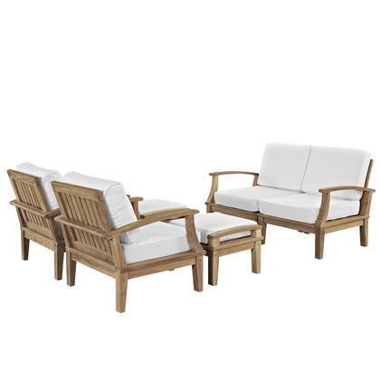 Modway EEI-1597-NAT Marina 8 Piece Outdoor Patio Teak Set with Loveseat + 2 Chairs + 2 Ottomans, Solid Teak Construction, Washable Covers, Water and UV Resistant Cushions