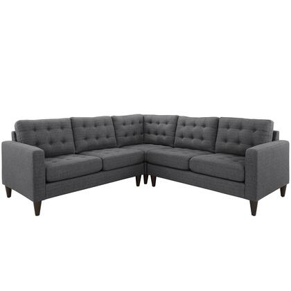 "Modway Empress 100.5"" Sectional with Solid Rubberwood Legs, Track Arms, Plastic Foot Glides, Sag-Spring Cushions and Fabric Upholstery in"