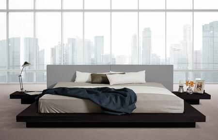 VIG Furniture VGKCHB39-OAK-GRY Modrest Opal Modern Low Profile Black Oak and Grey Leatherette Platform Bed