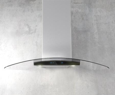 Elica ECM63xS3 Aspire Series Como Chimney Style Wall Mount Hood with 600 CFM Internal Blower, HUSH Sound Suppression, HeatGuard Sensor, CFM Reduction System, and Dimmable LED Lighting, in Stainless Steel with Black Glass Panel