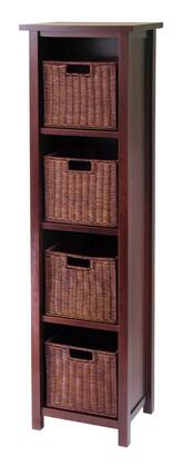 Winsome 9441X Milan Storage Shelf or Bookcase 5-Tier, Tall in Antique Walnut