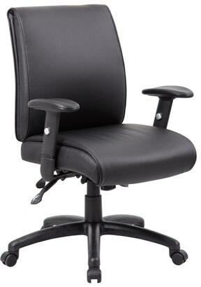 "Boss B716 39"" Multi-Function Mid-Back Executive Chair with 3 Paddle Multi-Function Tilting Mechanism, Adjustable Height Armrests, Ratchet Back Adjustment, Gas Lift Seat Height Adjustment and Tilt Tension Control in Black"