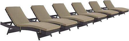 Modway Convene Collection Set of 6 Outdoor Patio Chaises with Synthetic Rattan Weave, All-Weather Fabric Cushions, Powder Coated Aluminum Frame, Water and UV Resistant in Espresso