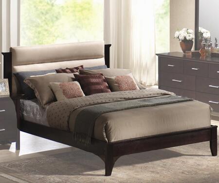 Coaster 201291 Kendra Upholstered Platform Bed in Mahogany Finish