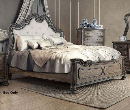 Furniture of America Ariadne CM7662X Bed with Button Tufted Padded Fabric Headboard and Intricate Wood Carvings