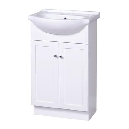 "Foremost COWAT x"" Columbia Collection Vanity Combo with Chrome Knobs and Closed Arched Toe Kick in a White Finish"