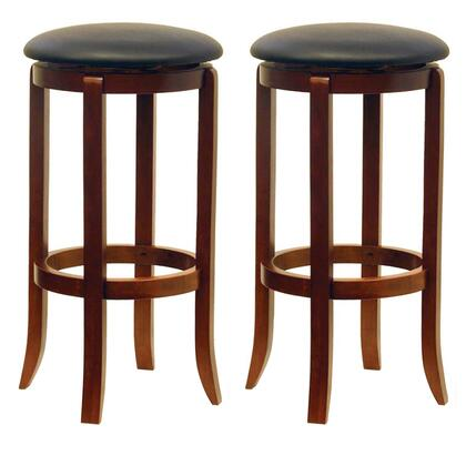 Winsome 946XX Set of 2 Faux Leather Swivel Stool in Walnut Finish