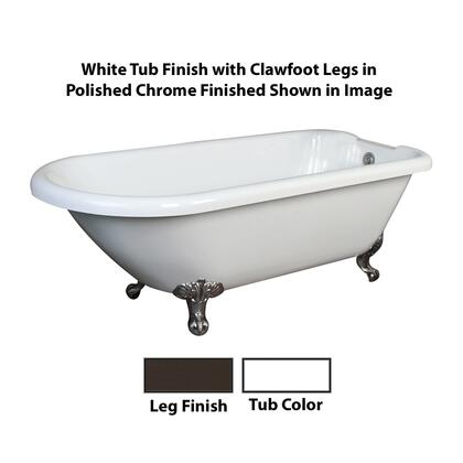 Shown with White Tub Finish with Clawfoot Finish in Polished Chrome