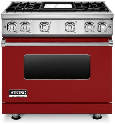 "Viking VGR73614G 36"" Professional 7 Series Natural Gas Range with 4 Sealed Burners and Griddle, SureSpark Ignition System and VariSimmer Setting, in"