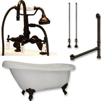 "Cambridge AST61684DPKGXX7DH Acrylic Slipper Bathtub 61"" x 30"" with 7"" Deck Mount Faucet Drillings and Complete Plumbing Package"
