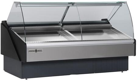 Hydra-Kool KFMSCxR Seafood Case with Ice Pans with BTU, Tilt Forward Curve, Tempered Front Glass, Rear Tempered Sliding Doors, in Black