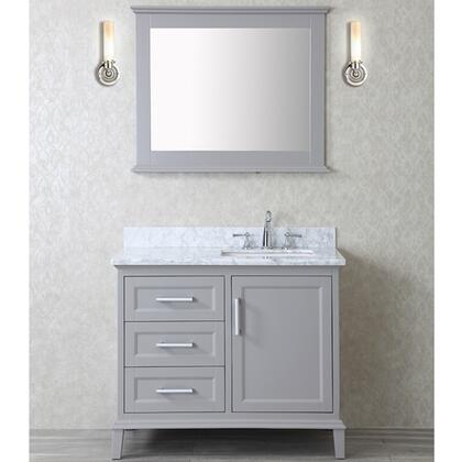 """Ariel SCNAN42S Seacliff by ARIEL Nantucket 42"""" Single Sink Vanity Set with Quartz Top, Tapered Legs, and Molding Detail in"""