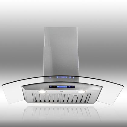"AKDY AWRD536 36"" Wall Mount Range Hood with 760 CFM, 65 dB, Innovative Touch, 3 Fan Speed, Delayed Auto Shut Off, Stainless Steel Baffle Filter, Halogen Lighting, Remote Control and X: Stainless Steel"