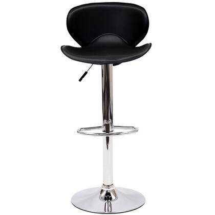 "Modway EEI-580 Booster 21.5"" Bar Stool with 360 Degree Swivel, Hydraulic Adjustable Height, Leatherette Seat, Chrome Frame and Base"