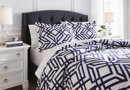 Signature Design by Ashley Imelda 3 PC Size Comforter Set includes 1 Comforter and 2 Standard Shams with Geometric Design and Cotton Material in Navy Color