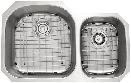 """Kraus KBU23KPF21SD20 Premier Series 33"""" Undermount 60/40 Double-Bowl Kitchen Sink with Stainless Steel Construction, NoiseDefend, and Included Kitchen Faucet"""