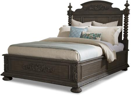 Klaussner Versailles 9800 Size Poster Bed with Mid-19th Century French Style, Decorative Bun Feet, Arched Panel Headboard, Ornate Carvings and Turned Posts in Normandie Finish