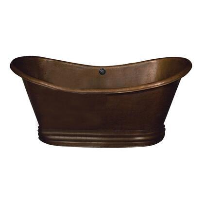 "71"" Copper Double Slipper Tub w/ Protective Lacquer Coating"