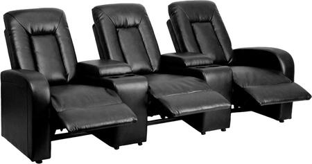 Flash Furniture BT702593GG Leather 3-Seat Home Theater Recliner with Storage Consoles