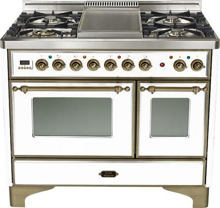 Ilve UMD100SMPBY  Dual Fuel Freestanding Range with Sealed Burner Cooktop, 2.44 cu. ft. Primary Oven Capacity, Warming in White