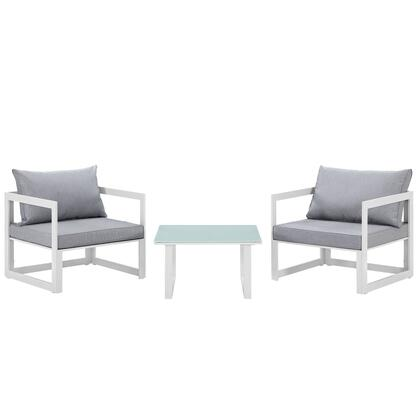 Modway Fortuna Collection EEI-1722- 3-Piece Outdoor Patio Sectional Sofa Set with Side Table and 2 Armchairs in