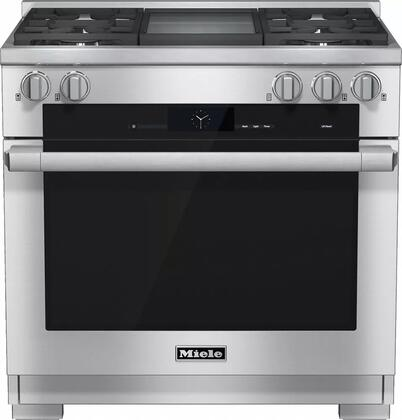 "Miele HR1936DFG 36"" Pro-Style Dual Fuel Range with 5.8 cu. ft., 4 Sealed M Pro Dual Stacked Burners, TwinPower Convection Fan Oven, Self-Clean, 21 Operating Modes, M Pro Infrared Griddle, and Wireless Roast"