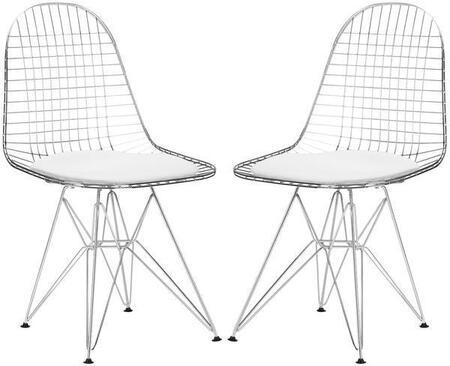 EdgeMod EM107WHIX2 Hamlet Series Modern Metal Frame Dining Room Chair