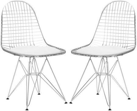 "EdgeMod Hamlet Collection 18"" Set of 2 Side Chairs with Solid Chrome Steel Frame, Grid Design, Geometric Styling and Leatherette Seat Pad in"