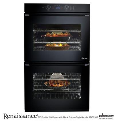 "Dacor RNO227B 27"" Wall Oven, in Black Glass with Black Epicure Handle"