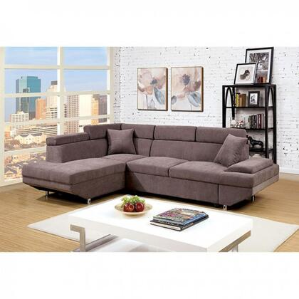"""Furniture of America Foreman Collection CM6125XX-SECTIONAL 108"""" 2-Piece Sectional with Pull-Out Bed, Flannelette Fabric and Plush Seats and Cushions in"""