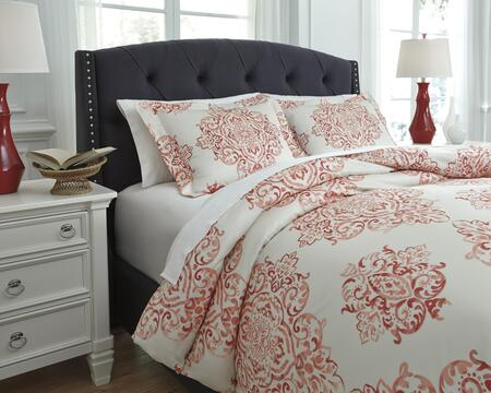 Signature Design by Ashley Fairholm 3 PC King Size Duvet Cover Set  includes 1 Duvet Cover and 2 Standard Shams with Medallion Design and 200 TC. Cotton Material in Color