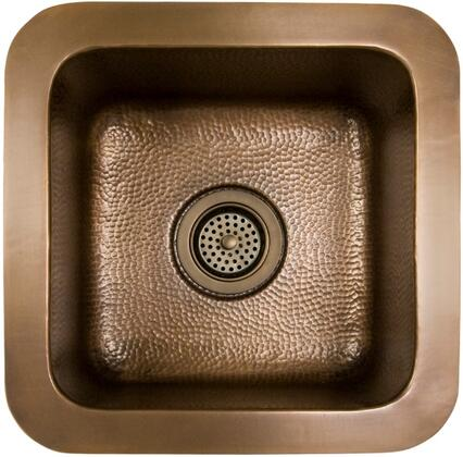 """Barclay PSCSB3002 Tamara 15"""" Sqaure Copper Bar Sink with Flat Bottom, Hammered Interior, Solid 16 Gauge Copper Construction and a Smooth, Flat Rim:"""