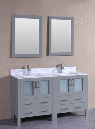 "Bosconi AGR230CMUX XX"" Double Vanity with Carrara Marble Top, Oval White Ceramic Undermount Sink, F-S01 Faucet, Mirror, Backsplash, 4 Doors and X Drawers in Grey"