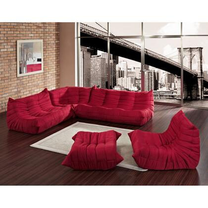 Modway EEI558RED Contemporary Microfiber Living Room Set
