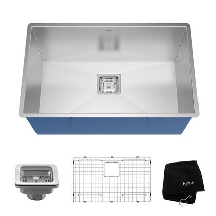 Kraus KHUX Pax Series Zero-Radius Bar/Prep Sink with Stainless Steel Construction, NoiseDefend, and Deep Sink Design