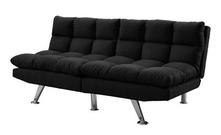 """Monarch I898XFT 70"""" Click Clack Futon with Split Back, Angled Chrome Legs and Micro-Suede Upholstery in"""