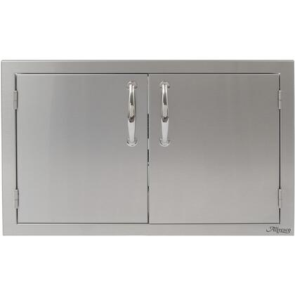 """Alfresco AB-XX XX"""" Double Sided Access Doors with All-welded Commercial Stainless Steel Design, Integrated Storage Rails, and Polished Steel Handles in Stainless Steel"""