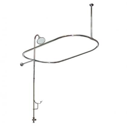 American Bath Factory F4200- Bathtub End Shower Enclosure, Hand Shower Diverter and Cradle Included, Supported with Wall and Ceiling Braces: